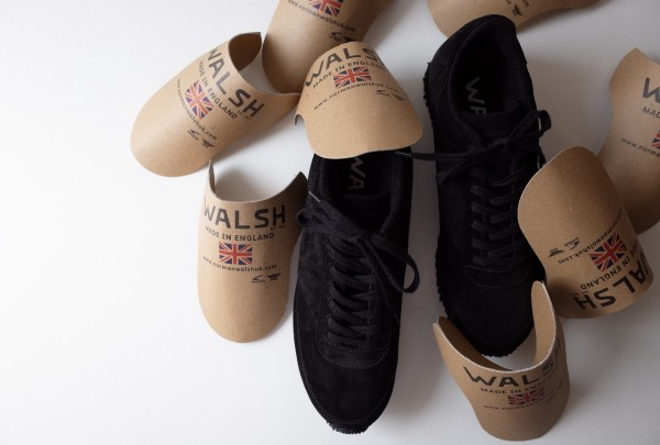 WALSH×AUGUSTE-PRESENTION ALL BLACK BACK SKIN LEATHER SNEAKERS